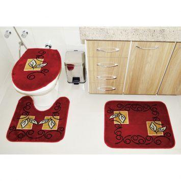 Jogo de Banheiro Royal Luxury Rln 102_6 Vermelho Rayza Rayza Royal Luxury