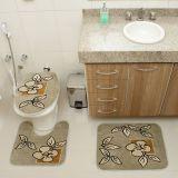 Kit Tapete de Banheiro Royal Luxury 3 Peças Rln 101 Verde Rayza