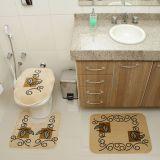 Kit Tapete de Banheiro Royal Luxury 3 Peças Rln 102 Creme Rayza