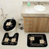 Kit Tapete de Banheiro Royal Luxury 3 Peças Rln 102 Preto Rayza