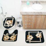 Kit Tapete de Banheiro Royal Luxury 3 Peças Rln 103 Preto Rayza