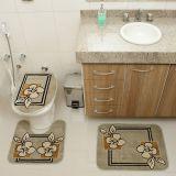 Kit Tapete de Banheiro Royal Luxury 3 Peças Rln 103 Verde Rayza