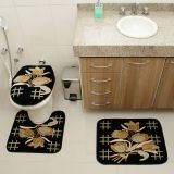 Kit Tapete de Banheiro Royal Luxury 3 Peças Rln 104 Preto Rayza