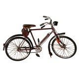 Enfeite Bicicleta de Metal Prata c/ Marrom