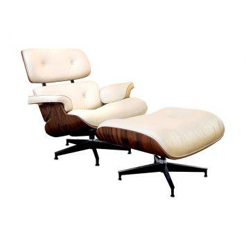 Conjunto Poltrona com Puff Charles Eames Bege Rivatti Charles Eames