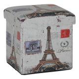 Puff Box Torre Eiffel E Arco Madeira Estampado