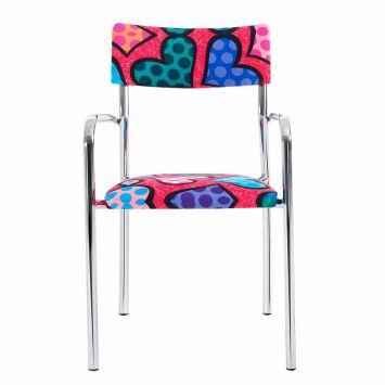 Cadeira de Escritório Cromada Romero Britto Heart Romero Britto F17 - 1B. 0001