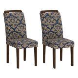 Conjunto 2 Cadeiras Athenas Wengue Com Imperial Azul
