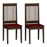 Conjunto 2 Cadeiras Bari Wengue e Carvalho Floral Vinho