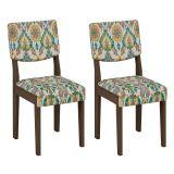 Conjunto 2 Cadeiras Diamantina Wengue Com Suedi Medalhao