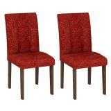 Conjunto 2 Cadeiras Paraty Wengue Com Floral Vinho