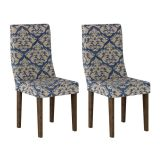 Conjunto 2 Cadeiras Verona Wengue E Imperial Azul A
