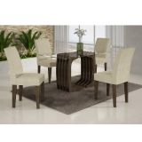 Conjunto De Mesa Monalisa 120 Com 2 Kits Cadeira Viena Wengue e Matelasse