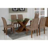 Conjunto De Mesa Verona e 6 Cadeiras Grécia Ype Animalle Chocolate