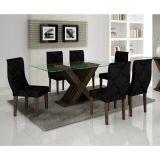 Conjunto Mesa E 6 Cadeiras Verona Wengué E Imperial Preto