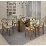 Conjunto de Mesa 160 e 6 Cadeiras de Jantar Diamantina Ypê e Suedi Medalhão