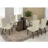 Conjunto de Mesa 160 e 6 Cadeiras de Jantar Olinda Wengue e Matelasse