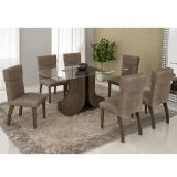 Conjunto de Mesa 160 e 6 Cadeiras de Jantar Olinda Wengue e Suedi Amarelo com Chocolate