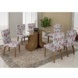 Conjunto de Mesa 160 e 6 Cadeiras de Jantar Olinda Ypê e Floral Primavera