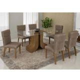 Conjunto de Mesa 160 e 6 Cadeiras de Jantar Olinda Ypê e Suedi Amarelo com Chocolate