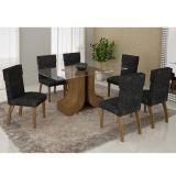 Conjunto de Mesa 160 e 6 Cadeiras de Jantar Olinda Ypê e Suedi Amarelo com Preto