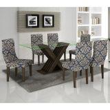Conjunto de Mesa 160 e 6 Cadeiras de Jantar Verona Wengue e Imperial Azul A