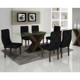 Conjunto de Mesa 160 e 6 Cadeiras de Jantar Verona Wengue e Imperial Preto