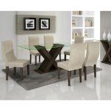 Conjunto de Mesa 160 e 6 Cadeiras de Jantar Verona Wengue e Suedi Creme