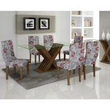 Conjunto de Mesa 160 e 6 Cadeiras de Jantar Verona Ypê e Floral Primavera