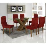 Conjunto de Mesa 160 e 6 Cadeiras de Jantar Verona Ypê e Floral Vinho