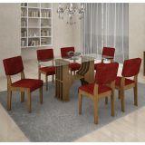 Conjunto de Mesa 180 e 6 Cadeiras de Jantar Diamantina Ypê e Floral Vinho