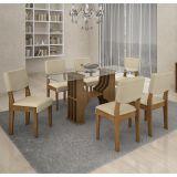 Conjunto de Mesa 180 e 6 Cadeiras de Jantar Diamantina Ypê e Poá Creme-A