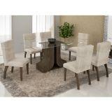 Conjunto de Mesa 180 e 6 Cadeiras de Jantar Olinda Wengue e Bege Rústico