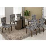Conjunto de Mesa 180 e 6 Cadeiras de Jantar Olinda Wengue e Imperial Azul-A