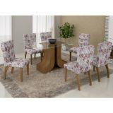 Conjunto de Mesa 180 e 6 Cadeiras de Jantar Olinda Ypê e Floral Primavera