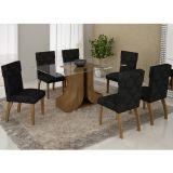 Conjunto de Mesa 180 e 6 Cadeiras de Jantar Olinda Ypê e Imperial Preto
