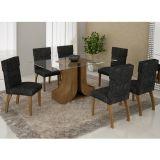 Conjunto de Mesa 180 e 6 Cadeiras de Jantar Olinda Ypê e Suedi Amarelo com Preto