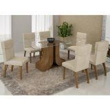 Conjunto de Mesa 180 e 6 Cadeiras de Jantar Olinda Ypê e Suedi Creme