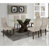 Conjunto de Mesa 180 e 6 Cadeiras de Jantar Verona Wengue e Bege Rústico