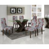Conjunto de Mesa 180 e 6 Cadeiras de Jantar Verona Wengue e Floral Primavera