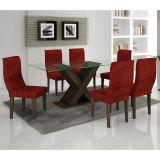 Conjunto de Mesa 180 e 6 Cadeiras de Jantar Verona Wengue e Floral Vinho