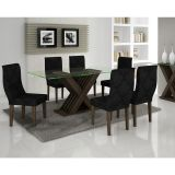 Conjunto de Mesa 180 e 6 Cadeiras de Jantar Verona Wengue e Imperial Preto