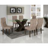 Conjunto de Mesa 180 e 6 Cadeiras de Jantar Verona Wengue e Suedi Amarelo Chocolate