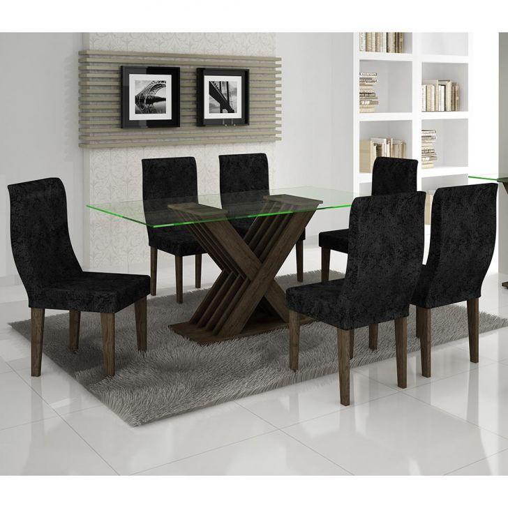 Sala De Jantar Viero Tabaco ~ Conjunto para Sala de Jantar com Mesa Quadrada com Tampo de Vidro e 4