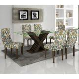 Conjunto de Mesa 180 e 6 Cadeiras de Jantar Verona Wengue e Suedi Medalhão