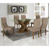Conjunto de Mesa 180 e 6 Cadeiras de Jantar Verona Ypê e Animalle Chocolate