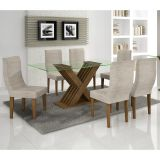 Conjunto de Mesa 180 e 6 Cadeiras de Jantar Verona Ypê e Bege Rústico