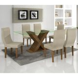 Conjunto de Mesa 180 e 6 Cadeiras de Jantar Verona Ypê e Poá Creme A