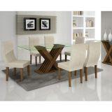 Conjunto de Mesa 180 e 6 Cadeiras de Jantar Verona Ypê e Suedi Creme