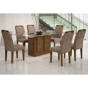 Conjunto de Mesa Amsterdã 1.6 com 6 Cadeiras de Jantar Athenas Ypê e Suedi Amarelo Chocolate Rufato AMSTERDA